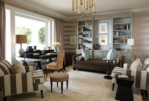 Horizontal striped walls in the living room
